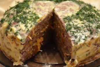 Печёночный торт- великолепная холодная закуска.