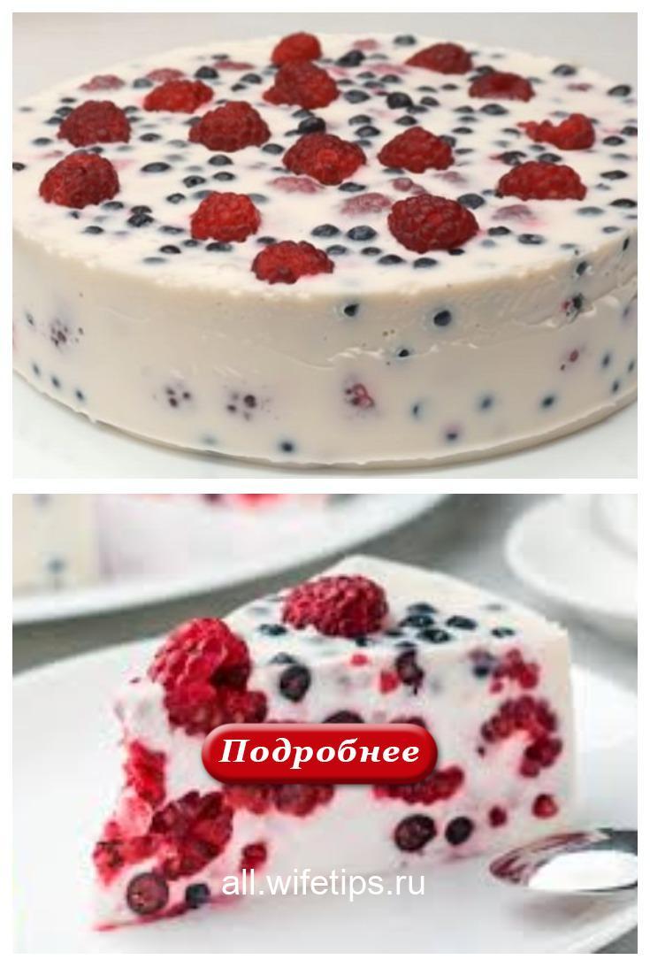 Вкусный ягодный торт без выпечки за пятнадцать минут